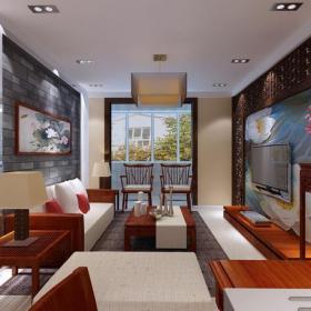 新中式风格三居室客厅背景墙装修效果图新中式风格沙发图片