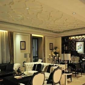 新古典风格样板?#32771;?#35013;客厅连餐厅石膏吊顶室内装修效果图大全