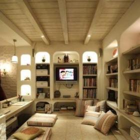 玩轉單身公寓地中海風格客廳榻榻米裝修效果圖大全2014圖片