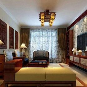 中式古典原木色中式古典风格三居室客厅壁纸装修效果图
