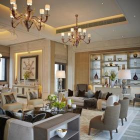 别墅混搭客厅博古架设计效果图