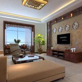 电视柜地柜休闲椅沙发茶几新中式风格客厅电视背景墙装修效果图