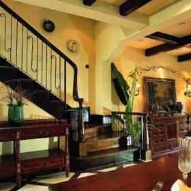 美式風格客廳電視背景墻裝修效果圖美式風格盆景花卉圖片