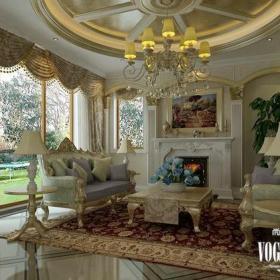 簡約法式風格客廳茶幾沙發壁爐裝修效果圖