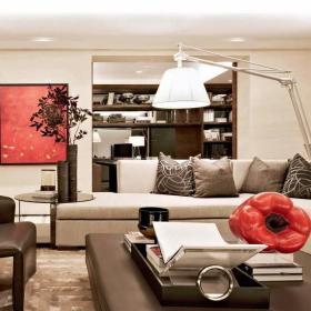 混搭客厅博古架样板房装修效果图