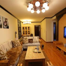 电视背景墙吊顶中式风格三居室客厅电视墙装修图,中式沙发图片效果图大全
