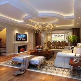 臺燈實木茶幾沙發家具客廳吊頂客廳吊燈簡歐風格客廳裝修效果圖