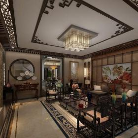 中式古典風格客廳裝飾設計效果圖