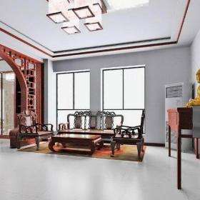 中式古典客廳150平米中式古典四居室客廳原木色隔斷博古架裝修效果圖