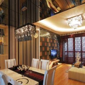 歐式風格50平米小戶型客廳餐廳裝修效果圖