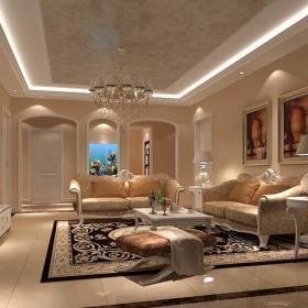 新房電視柜臺燈沙發簡歐茶幾客廳吊頂客廳吊燈浪漫溫馨的客廳裝修效果圖
