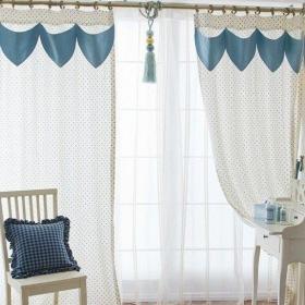 蓝色小清新客厅窗帘装修效果图