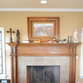 浪漫美式風格100平三室一廳豪華客廳經濟型壁爐效果圖