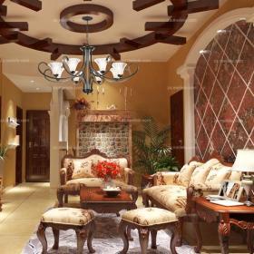 红色吊顶120㎡吊顶三居沙发超有范儿的美式风格客厅效果图