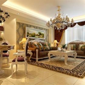 復式樓歐式風格復式客廳沙發背景墻裝修效果圖歐式風格吊頂圖片