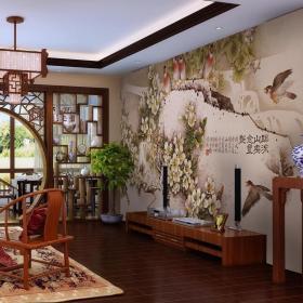 客厅背景墙博古架隔断效果图