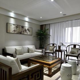 淡雅中式风格家居客厅装饰效果图