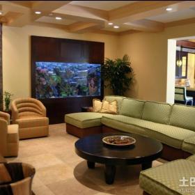 大客厅壁挂式鱼缸造景图片效果图