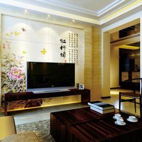 新中式风格客厅瓷砖背景墙装修效果图新中式风格实木茶几图片