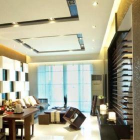 中式客廳中式三居室客廳咖啡色百葉隔斷裝修實景圖欣賞效果圖