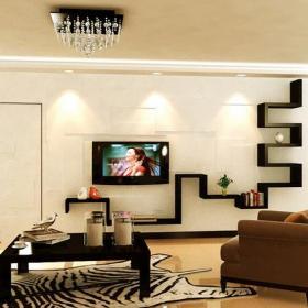 客厅贴砖电视背景墙简约风格装修效果图