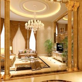 石膏板吊顶柜子圆形吊顶客厅欧式沙发欧式吊灯奢华时尚的室内欧式罗马柱设计效果图欣赏
