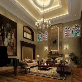混搭吊顶混搭风格别墅客厅吊顶装修效果图,混搭风格沙发图片