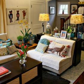 混搭三居躍層客廳沙發小動物和小植物的匯集裝飾裝修效果圖