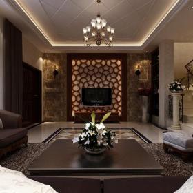 别墅电视背景墙欧式客厅大理石电视墙效果图