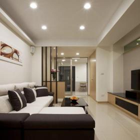 方形客厅纸面石膏板吊顶设计效果图