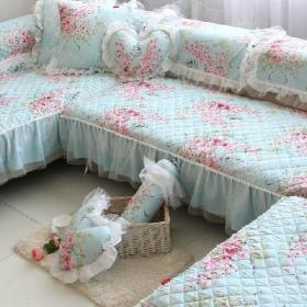 韩式风格大户型客厅防滑全棉沙发布效果图