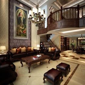 西式古典跃层客厅茶几装修图片效果图