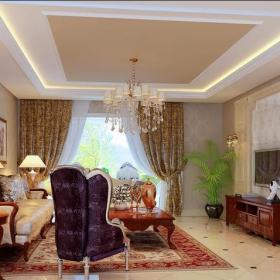 歐式風格(元洲裝飾)四居室客廳吊頂裝修效果圖欣賞
