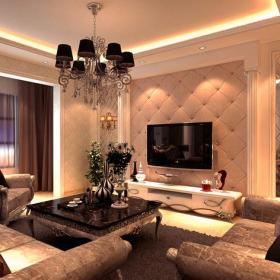 壁燈客廳吊燈客廳窗簾沙發茶幾143㎡三居歐式風格客廳電視背景墻裝修效果圖歐式風格電視柜圖片