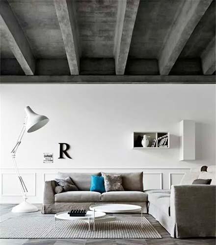 天花吊顶另类客厅复古水泥吊顶设计图效果图