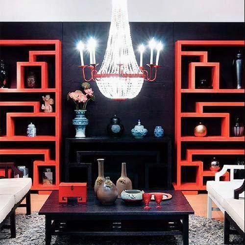 中式风格红色中式客厅布置装修效果图