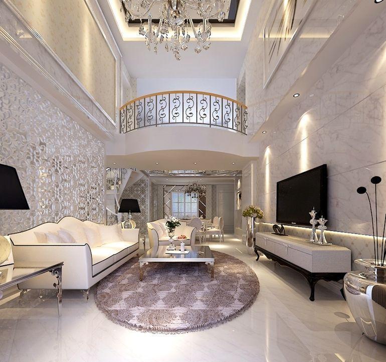 簡歐風格躍層客廳背景墻裝修效果圖