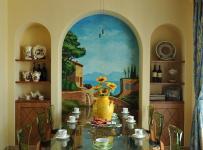 110㎡灯饰客厅背景墙地中海餐厅餐桌餐椅吊顶出吃大好的食欲装修效果图