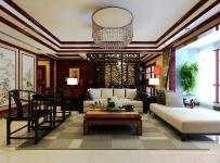 138㎡三居新中式风格客厅隔断装修效果图新中式风格边几图片