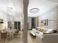 现代风隔断客厅餐厅吊顶家居装修设计效果图大全
