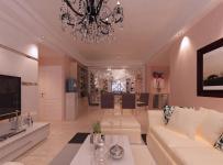 水电金檀89粉色系列现代风格餐厅客厅一体装修设计效果图