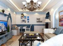 墙面装饰家具沙发电视柜茶几吊灯地中海茶几客厅吊灯二居客厅侧面整体装修效果图