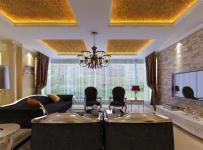 吊顶家具沙发电视柜128㎡三居室欧式风格客厅电视背景墙装修效果图欧式吊灯图片