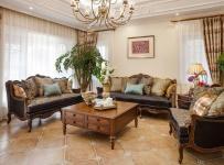 原木色201平米以上别墅大气木色新古典客厅沙发装修效果图