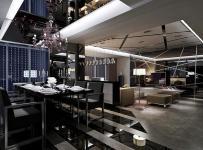 客厅沙发单人沙发客厅家具椅凳沙发茶几现代简约风格黑玻璃餐厅电视背景墙装修效果图现代简约风格餐桌餐椅图