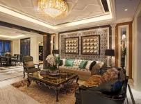 130㎡大戶型歐式古典風格客廳沙發背景墻裝修效果圖歐式古典風格茶幾圖片