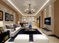 休闲沙发沙发家具现代简约吊灯茶几电视柜地毯中型空间客厅侧面整体装修效果图