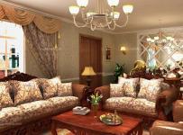 雕花隔斷茶幾歐式大戶型沙發古典風格家居客廳裝修效果圖