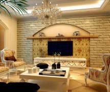 吊頂146平歐式風格三居客廳電視背景墻裝修效果圖歐式風格櫻桃木方茶幾圖片