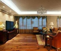 沙發椅水晶吊燈茶幾窗簾簡歐風格客廳電視背景墻裝修效果圖簡歐風格電視柜圖片